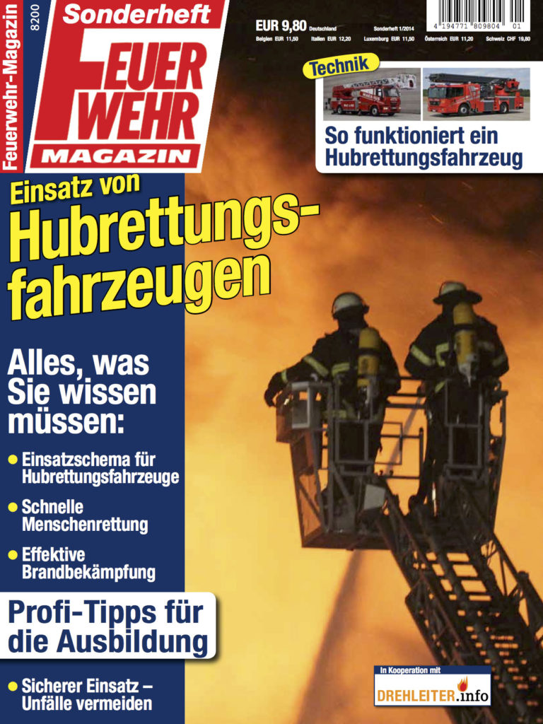 Bild: Sonderheft Feuerwehrmagazin 1/2014: Einsatz von Hubrettungsfahrzeugen, erschienen im Ebner Verlag GmbH & Co KG in Kooperation mit DREHLEITER.info