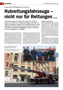 118 - Swissfire.ch - Novemberausgabe 2014 Artikel: Hubrettungsfahrzeuge – nicht nur für Rettungen...