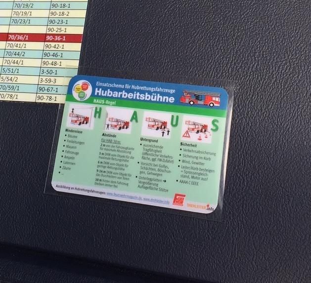 Nicht nur für die Tasche: Einsatzkarte für Hubrettungsfahrzeuge